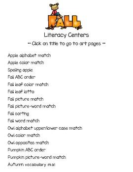 Fall Literacy Center Games