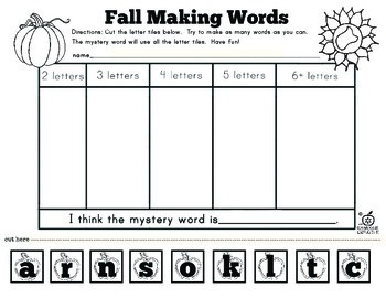 Fall Literacy Centers: 10 Making Words Activities