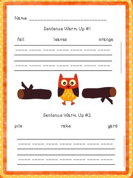 Fall Literacy Centers: Compound Words, Sentence Scramble, Creative Writing