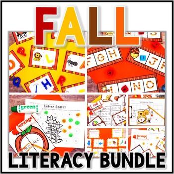 Kindergarten Fall Literacy Centers Bundle-  7 Autumn Reading Stations