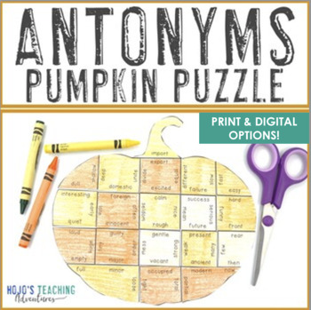 Fall Centers | Antonyms Pumpkin Puzzle | September Literacy Centers