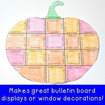 Fall Literacy Centers: Compound Words Pumpkin Puzzles