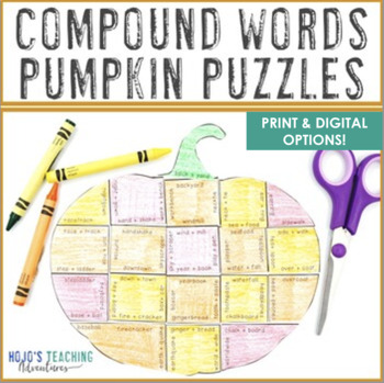 COMPOUND WORDS Pumpkin Literacy Activities | Thanksgiving ELA Centers or Games