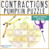 CONTRACTIONS Puzzle   Make a Pumpkin Craft from this Halloween Literacy Center