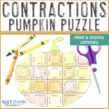 CONTRACTIONS Puzzle: Make a Pumpkin Craft from this Thanksgiving Literacy Center