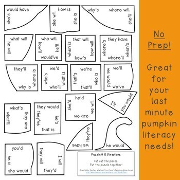 Pumpkin CONTRACTIONS Game | Fall Literacy Worksheet Alternative or Center