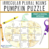 IRREGULAR PLURAL NOUNS Pumpkin Puzzle | Thanksgiving Worksheet Alternatives