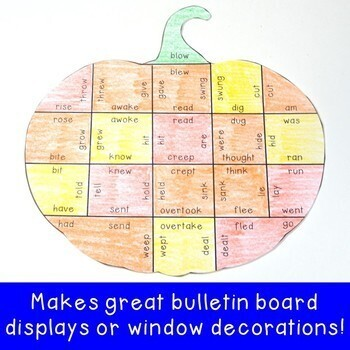 Fall Literacy Centers: Irregular Verbs Pumpkin Puzzles