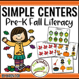 Fall Literacy Centers, Preschool PreK | Easy Prep, Simple Centers