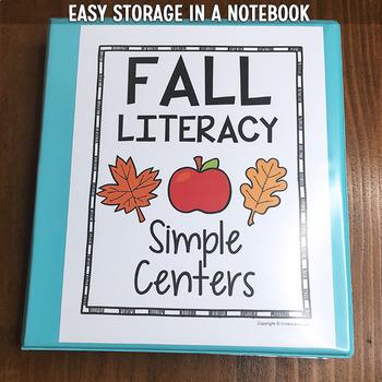 Fall Literacy Centers, Preschool PreK | Easy Prep, Simple Centers