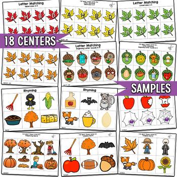 Fall Literacy Centers, Preschool PreK   Easy Prep, Simple Centers