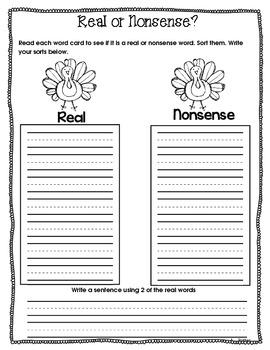 Fall Literacy Centers Response Sheets