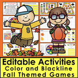 Editable Sight Word Games Auto Fill by Typing Once! 12 Fall Themed Activities