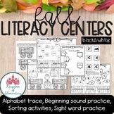 Fall Literacy Centers for Kindergarten BLACK&WHITE