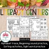 Fall Literacy Centers for Kindergarten