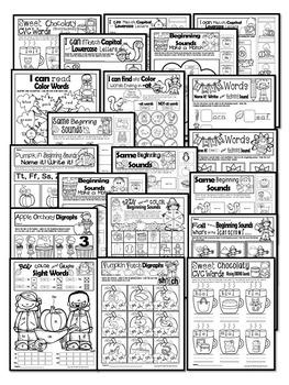 FALL WORKSHEETS- 75+Literacy & Math Worksheets for fall (KINDERGARTEN)