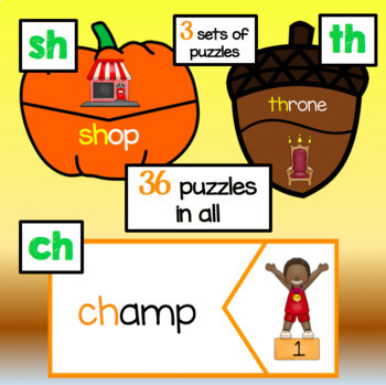 Fall Literacy Center Puzzles - Digraphs ch, th, sh - 36 puzzles