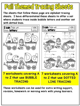 Fall Literacy Worksheets- Letter Recognition and Beginning Sounds (PRE-KG)