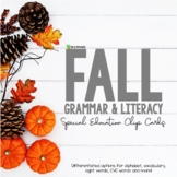 Fall Literacy and Grammar Clipping Cards for ESL First and Second Grade