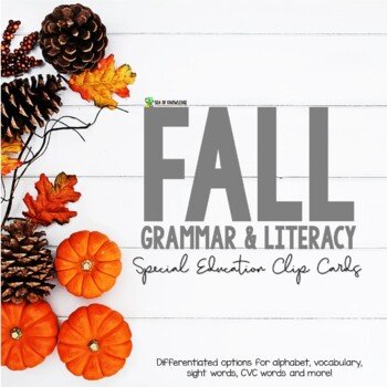 Fall iteracy and Grammar Clipping Cards for ESL First and