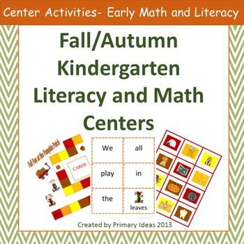 Fall Literacy and Math Centers: Kindergarten