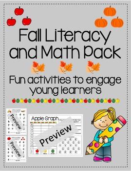 K, 1st, 2nd Grade Literacy and Math autumn pack