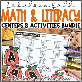 Fall Literacy and Math Stations and Centers Activities for Kindergarten