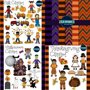 Fall Clipart MEGA Bundle {L.E. Designs}