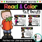 Fall BUNDLE of Color-by Activities! Colors, Numbers, Shapes & Sight Words