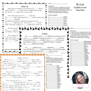 Fall Halloween Mad-Libs Style Parts of Speech Story Activity Stories!  11 pages!