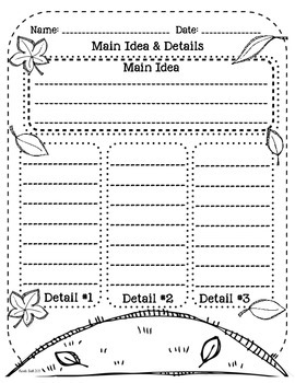 Fall Main Idea & Details Graphic Organizer!
