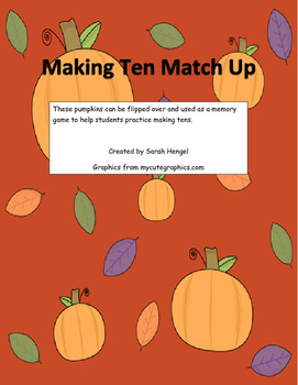 Pumpkin Making Tens Matching Game