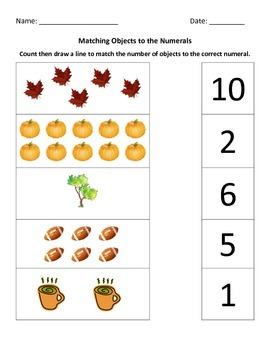 Fall - Matching Objects & Numerals