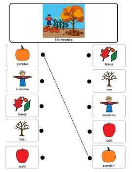 Fall Matching Vocabulary