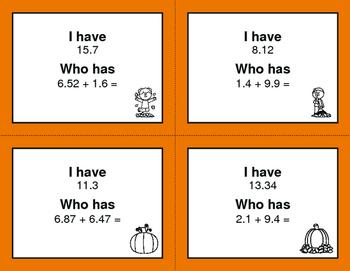 Fall Math: I Have, Who Has - Adding Decimals