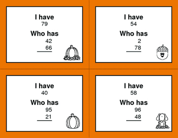 Fall Math: I Have, Who Has - Average of 2 Numbers