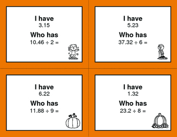 Fall Math: I Have, Who Has - Dividing Decimals