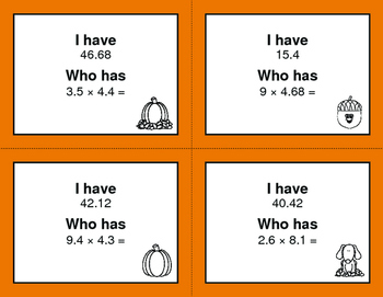 Fall Math: I Have, Who Has - Multiplying Decimals
