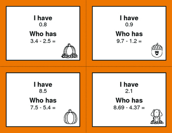 Fall Math: I Have, Who Has - Subtracting Decimals