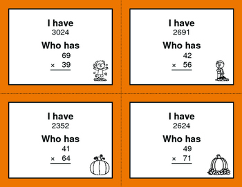Fall Math: 2-Digit Multiplication - I Have, Who Has