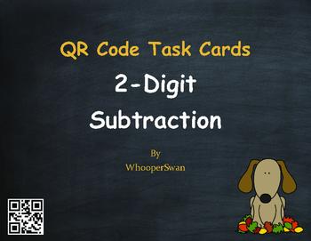 Fall Math: 2-Digit Subtraction QR Code Task Cards