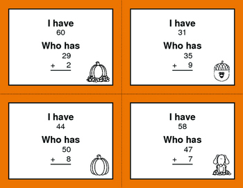 Fall Math: 2-Digit and 1-Digit Addition - I Have, Who Has