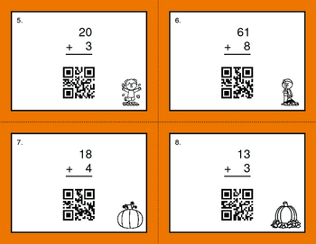 Fall Math: 2-Digit and 1-Digit Addition QR Code Task Cards