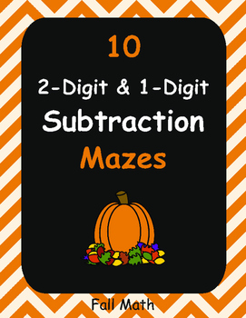 Fall Math: 2-Digit and 1-Digit Subtraction Maze