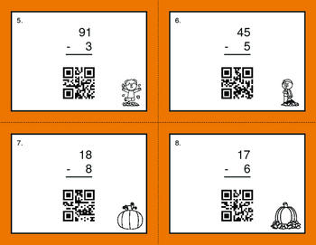 Fall Math: 2-Digit and 1-Digit Subtraction QR Code Task Cards