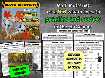 Fall Math Mystery Activity - {Fun Mixed Math Review GRADE 3}