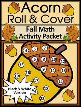 Fall Math Activities: Acorn Roll & Cover