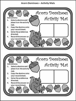 Fall Math Activities: Acorn Dominoes