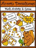 Fall Math Activities: Acorn Dominoes Fall Game Activity - BW