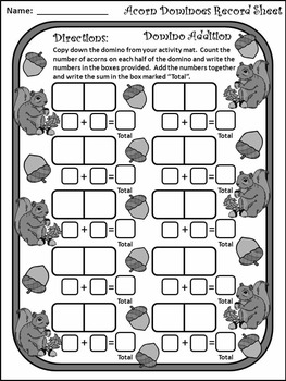 Fall Math Activities: Acorn Dominoes Fall Game Activity - BW